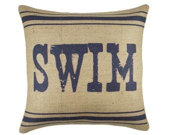 Swim Pillow, Burlap Pillow, Lake House Cushion, Navy