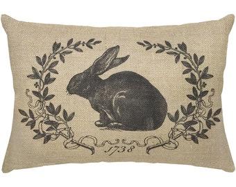 Rabbit Burlap Pillow, French Lumbar Pillow, French Country, 18x12