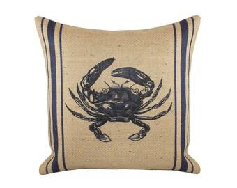 Crab Pillow, Burlap Nautical Navy Cushion, Beach Pillow, Coastal