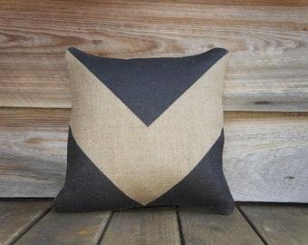 Black Chevron Pillow, Burlap, Decorative Throw Pillow, Geometrical, Arrow, Industrial