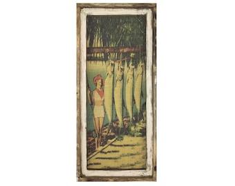 "Tarpon Fishing Wall Art | 16"" x 36"" | Window Frame | Burlap Wall Hanging | Farmhouse Decor |"