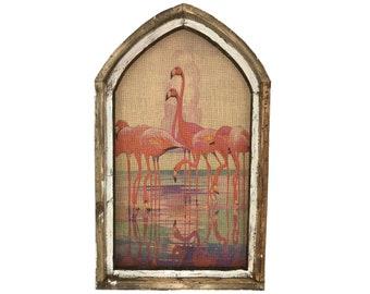 "Flamingos Wall Art   18"" x 30""   Arch Window Frame   Burlap Wall Hanging   Coastal Decor  "