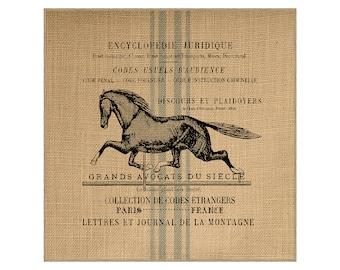 Horse Grainsack Burlap Panel, Reproduction Printed Fabric