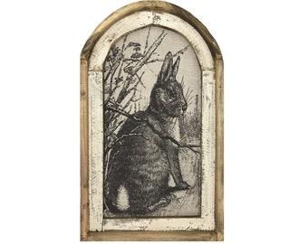 "Rabbit Wall Art   18"" x 30""   Arch Window Frame   Easter Farmhouse Decor   Spring Bunny"