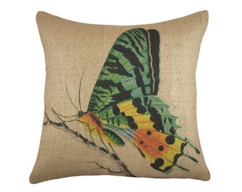 Burlap Butterfly Pillow Cover, Decorative Throw Pillow, Blue Butterfly Cushion, Jute, Spring