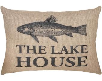 Lake House Burlap Pillow, Rustic Lumbar Pillow, Country Farmhouse, 18x12