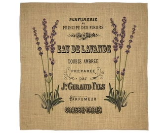 Lavender Burlap Fabric, Printed Fabric Panel for Upholstery and Framing