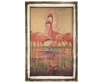 "Flamingos Wall Decor   24"" x 36""   Coastal Wall Art   Florida Postcard"