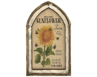 "Sunflower Wall Decor | 18"" x 30"" | Arch Window Frame | Burlap Wall Hanging | Farmhouse Decor |"