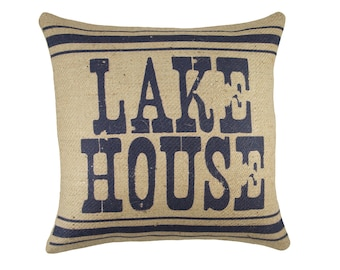 Lake House Pillow in Navy, Burlap Cushion Cover, Adirondack