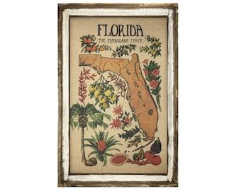 "Florida Map Wall Art | 24"" x 36"" | Coastal Wall Art | Florida Postcard | Beach Wall Decor | Citrus"