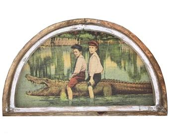 """Alligator Wall Art   30"""" x 18""""   Arch Window Frame   Burlap Wall Hanging   Coastal Decor  """