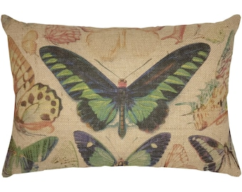 Butterflies Burlap Pillow, Grainsack Lumbar Pillow,  Farmhouse Decor, 18x12