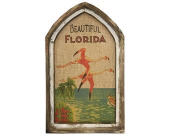"Florida Flamingos Wall Art   18"" x 30""   Arch Window Frame   Burlap Wall Hanging   Coastal Decor  "