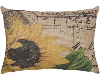 Sunflower Burlap Pillow, French Script, French Farmhouse, 18x12