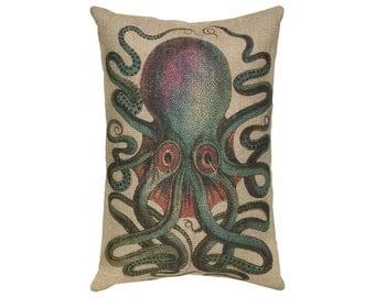 Octopus Burlap Pillow, Nautical Lumbar Pillow, Coastal Throw Pillow, 18x12