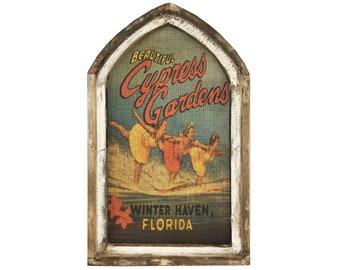 "Cypress Gardens Wall Art   18"" x 30""   Arch Window Frame   Burlap Wall Hanging   Florida Decor  "