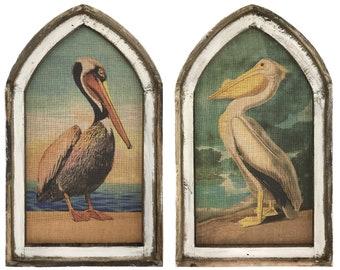 Set of 2 Pelican Wall Decor I Coastal Wall Art I Cathedral Decor