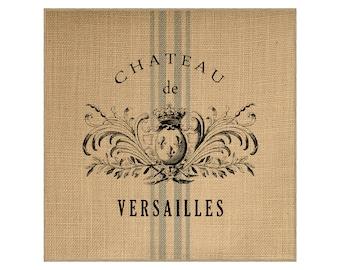 Chateau Grainsack Burlap Panel, Reproduction Printed Fabric