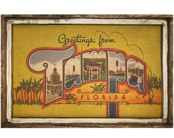 "Tampa Postcard Wall Art | 24"" x 36"" | Window Frame | Coastal Decor | Florida Decor |"