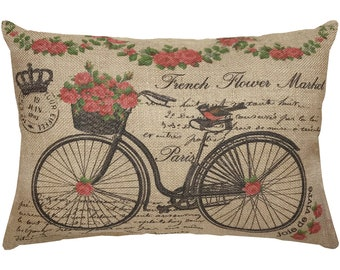 Bicycle with Roses Burlap Pillow, French Lumbar Pillow, French Flower Market, 18x12