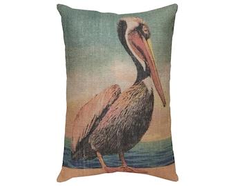 Pelican Burlap Pillow, Nautical Lumbar Pillow, Coastal Throw Pillow, 18x12