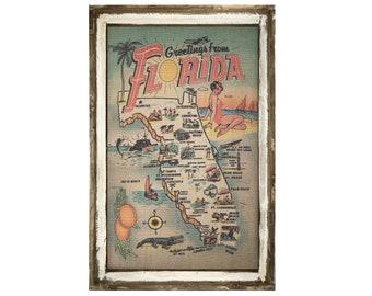 "Florida Map Wall Art | 24"" x 36"" | Coastal Wall Art | Florida Postcard | Beach Wall Decor |"