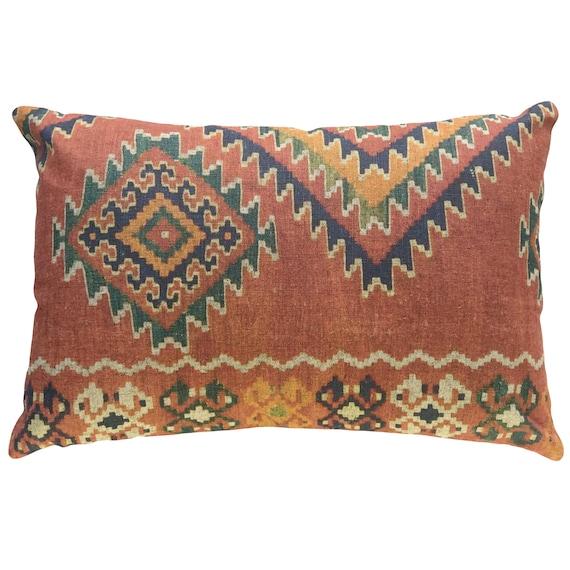 Orange Aztec Throw Pillow Linen Lumbar