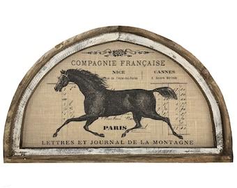 "Horse Wall Art | 30"" x 18"" | Arch Window Frame | Burlap Wall Hanging | French Farmhouse Decor |"