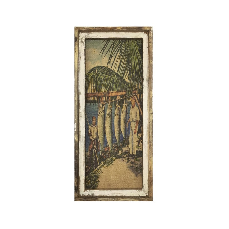 Farmhouse Decor | Tarpon Fishing Wall Art Window Frame Burlap Wall Hanging 16 x 36
