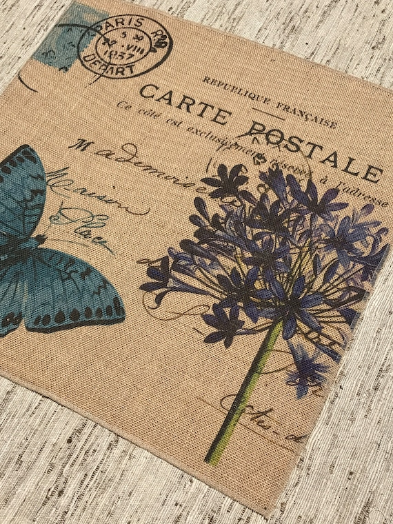 Dragonfly Insect Jute Hessian Fabric Panel Make A Cushion Upholstery Craft