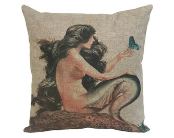 """Mermaid with Butterfly Linen Throw Pillow 15"""" x 15"""""""