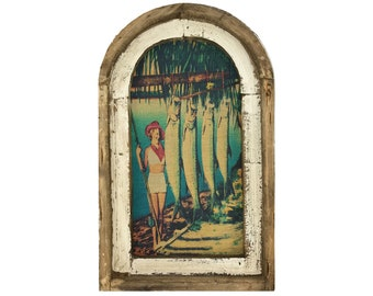"Tarpon Fishing Wall Art   14"" x 22""   Arch Window Frame   Linen Wall Hanging   Coastal Decor  "