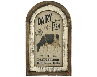 "Cow Wall Art   14"" x 22""   Arch Window Frame   Linen Wall Hanging   Rustic Farmhouse Decor  "
