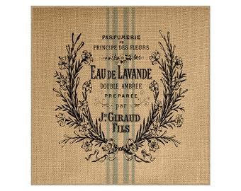 Lavender Grainsack Burlap Panel, Reproduction Printed Fabric