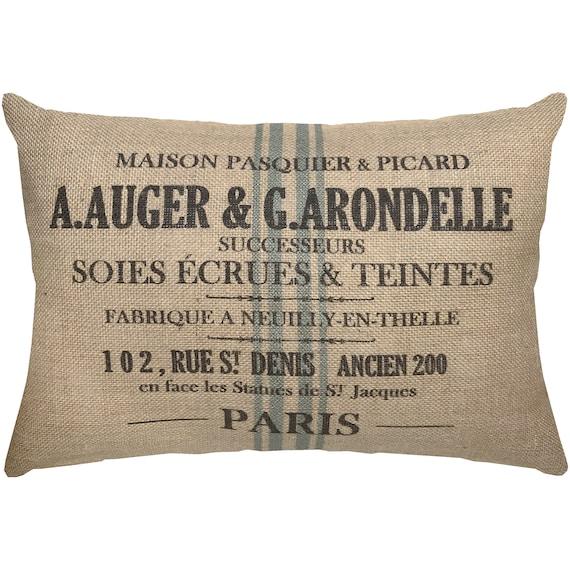 Burlap Grainsack Pillow French Lumbar Pillow French | Etsy