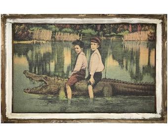"Alligator Wall Art | 24"" x 36"" | Window Frame | Alligator Decor | Florida Postcard Decor |"