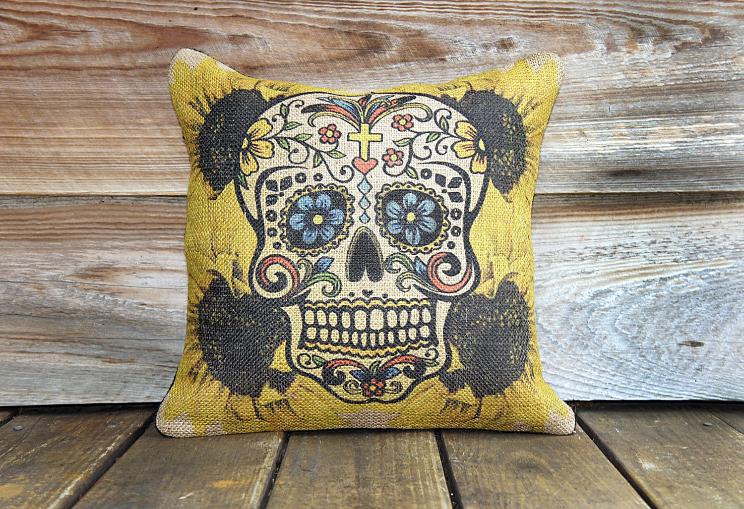 Sugar Skull Pillow Decorative Throw Pillow Day Of The Dead