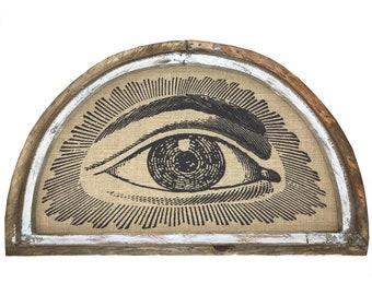 "Eye Wall Art | 30"" x 18"" | Arch Window Frame | Burlap Wall Hanging | Mid Century Decor |"