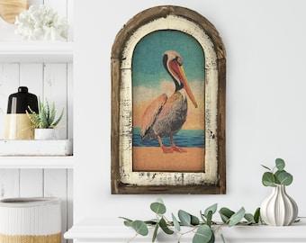 "Pelican Wall Art | 14"" x 22"" | Arch Window Frame | Linen Wall Hanging | Coastal Decor |"