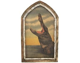 """Alligator Wall Art   18"""" x 30""""   Arch Window Frame   Burlap Wall Hanging   Coastal Decor  """