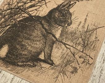 Rabbit Burlap Panel, French Printed Fabric