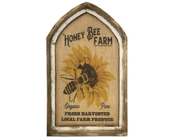 "Honey Bee Wall Art | 18"" x 30"" | Arch Window Frame | Burlap Wall Hanging | Farmhouse Decor |"