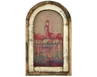 "Pink Flamingos Wall Art   14"" x 22""   Arch Window Frame   Linen Wall Hanging   Coastal Decor  "