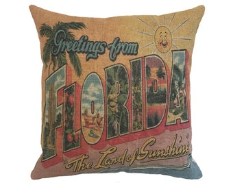 """Greetings From Florida Linen Throw Pillow 15"""" x 15"""""""