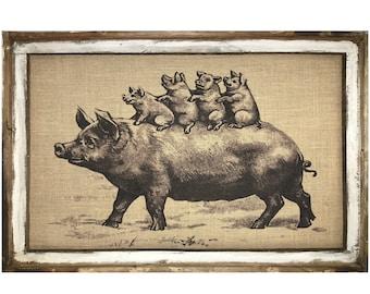 "Farmhouse Wall Art | 24"" x 36"" | Window Frame | Rustic Decor | Country Farm Animals Decor |"