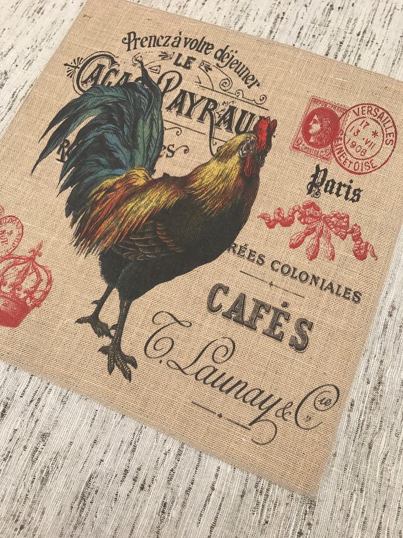 Chicken Burlap Panel Grainsack Printed Fabric