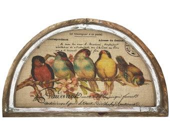 "Birds on Branch Wall Art | 30"" x 18"" | Arch Window Frame | Burlap Wall Hanging | French Farmhouse Decor |"