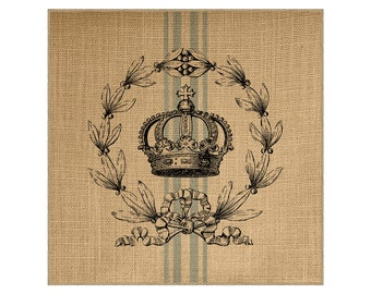 Crown Grainsack Burlap Panel, Reproduction Printed Fabric