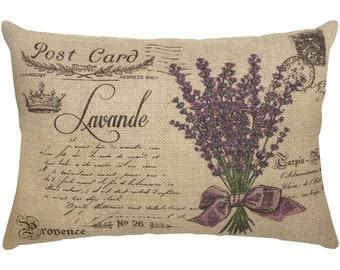 Lavender Pillow, Postcard Burlap Pillow, French Country Lumbar Pillow, Country Farmhouse, 18x12